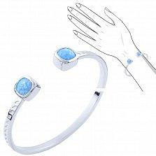 Серебряный браслет Друзилла с голубым опалом