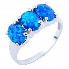 Серебряное кольцо Виджая с синим опалом