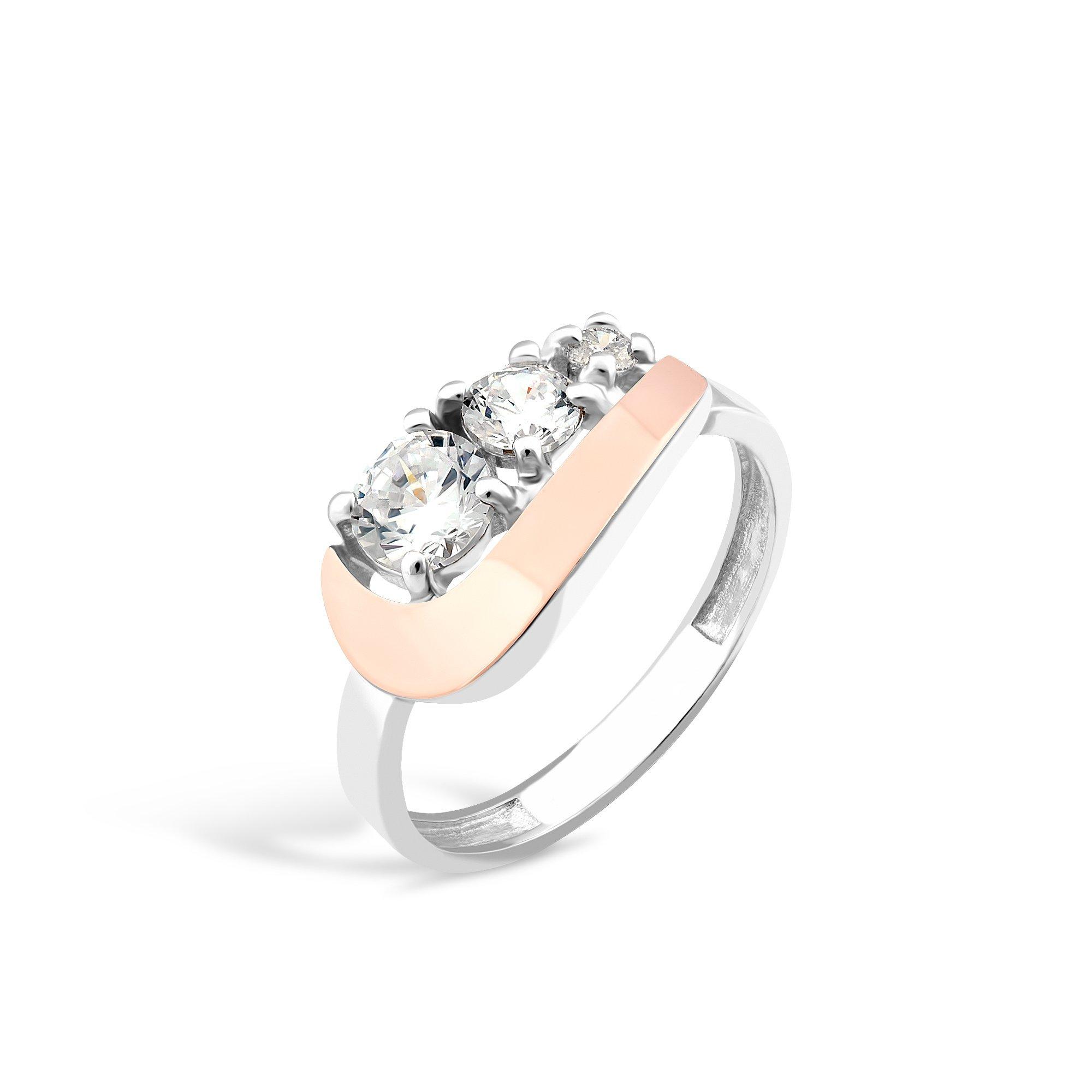 Серебряное кольцо Катрина с золотой накладкой и фианитами
