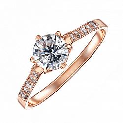 Кольцо из красного золота Оливия с фианитами