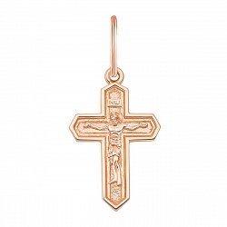 Золотой крестик Простая истина в красном цвете лаконичной формы
