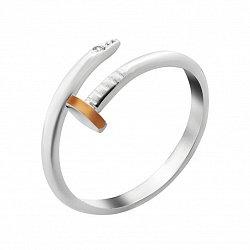 Серебряное кольцо-гвоздик Милли с золотой накладкой в стиле Картье