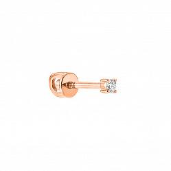 Золотая серьга-пуссета Лаки с бриллиантом