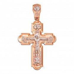 Золотой крестик в комбинированном цвете 000106327