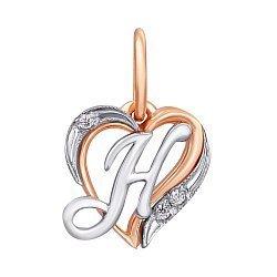 Золотой кулон-сердце Буква Н в комбинированном цвете с фианитами 000011011