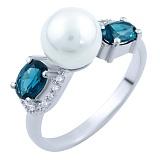 Серебряное кольцо Аделита с синтезированным топазом лондон и фианитами