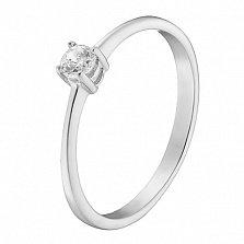 Помолвочное кольцо Ответ с фианитом в белом золоте