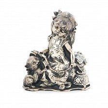 Серебряная статуэтка Девочка с котенком