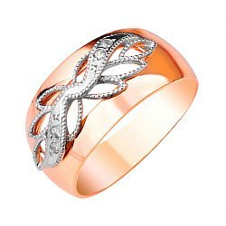 Золотое кольцо Флорентийка в комбинированном цвете с фианитами и алмазной гранью