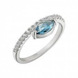 Серебряное кольцо Калипсо с топазом и фианитами