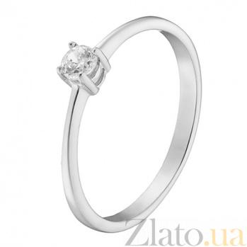 Помолвочное кольцо Ответ с фианитом в белом золоте 000023224