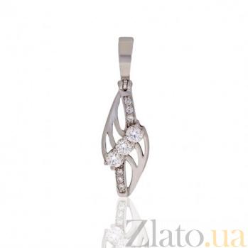 Кулон из белого золота Блестящее впечатление с бриллиантами EDM--П7459/1