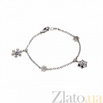 Серебряный браслет Снежный бал с голубым топазом и цирконием 000050712