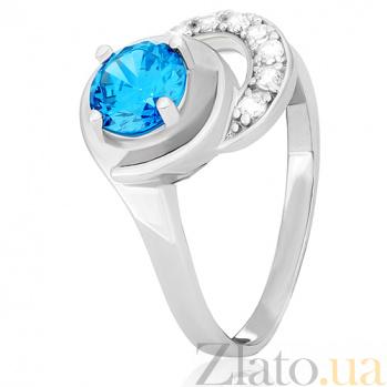 Серебряное кольцо Тристана с голубым фианитом 000030967