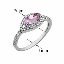 Серебряное кольцо Мелисса с аметистом и фианитами