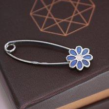 Серебряная булавка Цветик с синей эмалью