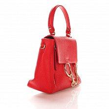 Кожаная деловая сумка Genuine Leather 8941 красного цвета с декоративной цепочкой и кольцом