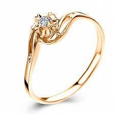 Золотое кольцо Счастливая жизнь в красном цвете с бриллиантом 3,7мм