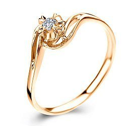 Золотое кольцо в красном цвете с бриллиантом 0,18ct 000050471