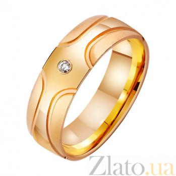 Золотое обручальное кольцо Современность с фианитом TRF--412915
