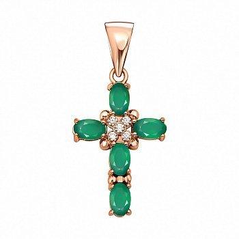 Декоративный крестик из красного золота с зелеными агатами и фианитами 000134277