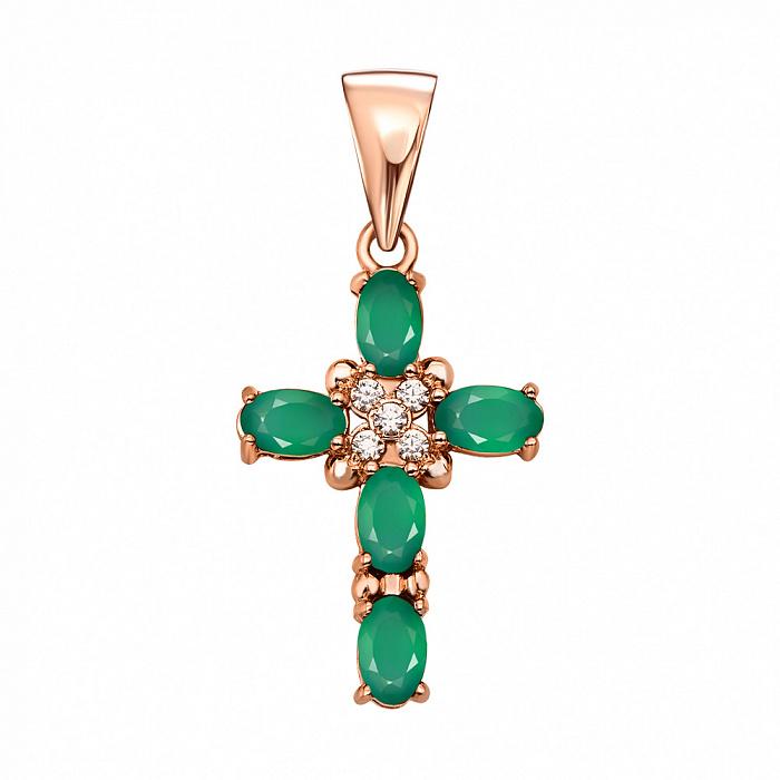 Декоративный крестик из красного золота с зелеными агатами и фианитами 000134277 000134277