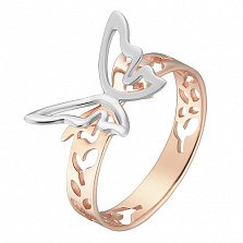 Кольцо в белом и розовом золоте Махаон