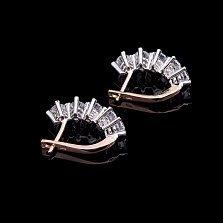 Золотые серьги Андромеда с фианитами