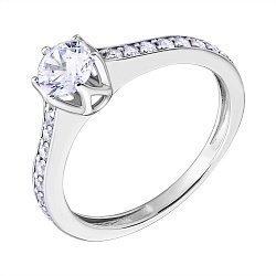 Кольцо в белом золоте с фианитами 000013261