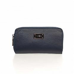 Кожаный кошелек Genuine Leather 1640 темно-синего цвета на молнии с заклепками