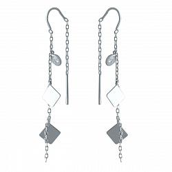 Серебряные серьги-протяжки Лиана с квадратиками и цирконием