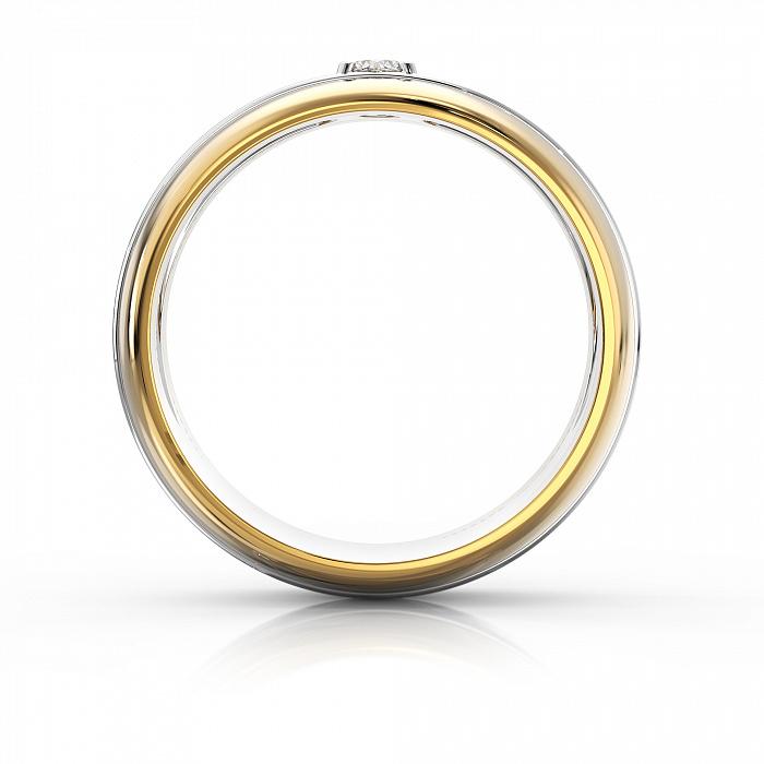 Золотое обручальное кольцо Сильвия в комбинированном цвете с бриллиантом VLA--12730