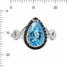 Кольцо из белого золота Келли с голубым топазом и черными бриллиантами