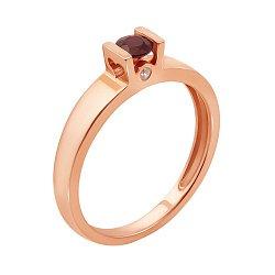 Кольцо из красного золота с рубином и бриллиантами 000125422