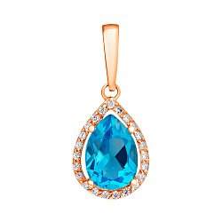Кулон из красного золота с голубым топазом и фианитами 000001354
