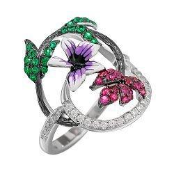 Серебряное кольцо с цветной эмалью и разноцветными фианитами 000081547