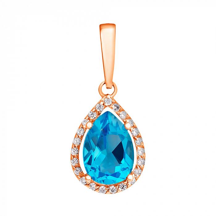 Кулон из красного золота с голубым топазом и фианитами 000001354 EDM--П4030ТОПАЗ