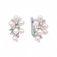 Серебряные серьги Белый барбарис с жемчугом и белыми фианитами