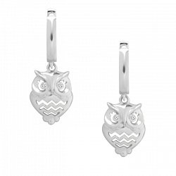 Серебряные серьги-подвески Совы с глазами-фианитами 000064300