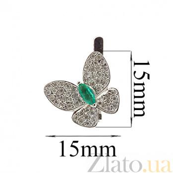 Серебряные сережки с изумрудами и цирконами Патрисия ZMX--ECzE-6722-Ag_K