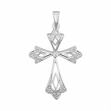 Крестик из белого золота Вдохновение с бриллиантами