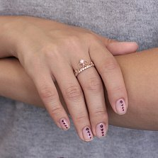Золотое кольцо Узорная корона с белым цирконием
