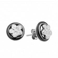 Серебряные серьги-пуссеты Нежный цветочек с черным гематитом и фианитами