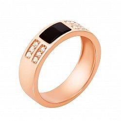Золотой перстень-печатка в красном цвете с черным ониксом и фианитами 000117741