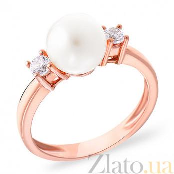 Золотое кольцо с жемчугом и фианитами Serenity SUF--151309