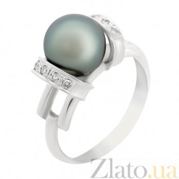 Золотое кольцо Услада в белом цвете с черным жемчугом и бриллиантами VLA--12119