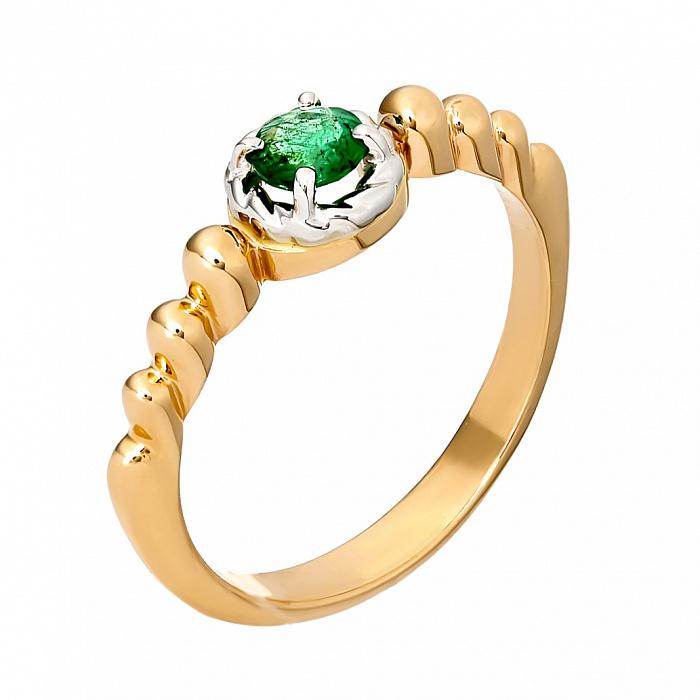 Золотое кольцо Симона с изумрудом 000029887