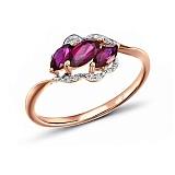 Кольцо из красного золота Жизель с бриллиантами и рубинами