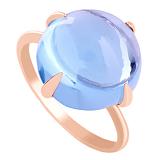 Золотое кольцо Исидора с голубым кварцем
