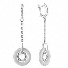 Серебряные серьги Юстимия с керамикой и фианитами
